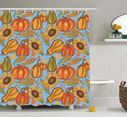 Ambesonne Harvest Shower Curtain Agriculture Theme Vegetable Pattern Corns Pumpkins And Sunflowers Fabric Bathroom