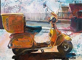 Postman Vespa Original Painting