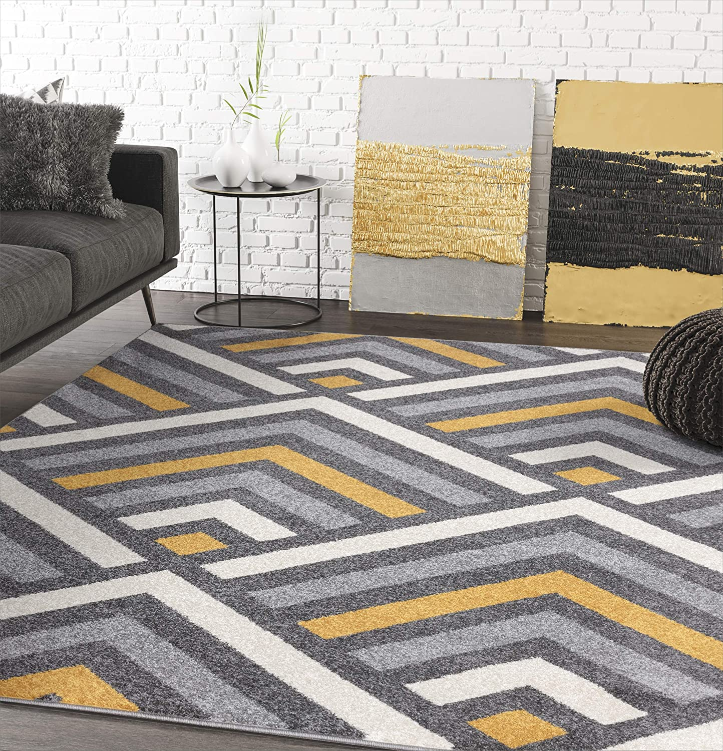 5 3 X 7 6 Modern Yellow Grey Beige Geometric Chevron Area Rug Abani Rugs Laguna Collection Contemporary Accent Rug Kitchen Dining