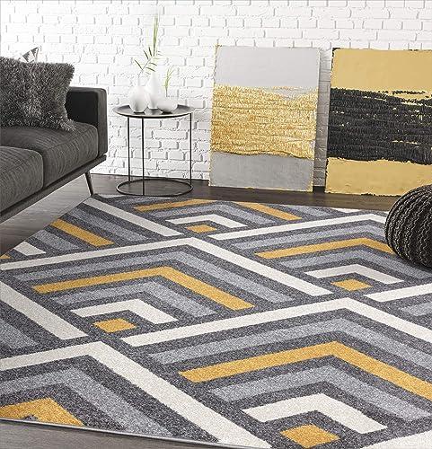 7 9 x 10 2 Modern Yellow, Grey Beige Geometric Chevron Area Rug – Abani Rugs Laguna Collection Contemporary Accent Rug