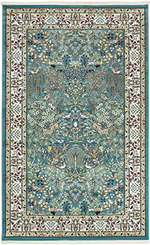 Unique Loom Narenj Collection Classic Traditional Hunting Scene Textured Blue Area Rug 5 0 x 8 0