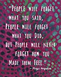 """Colorful Batik Pattern Wall Art Print ~ MAYA ANGELOU Famous Quote: '...People will Never Forget How You Made them FEEL' (8""""×10"""")"""