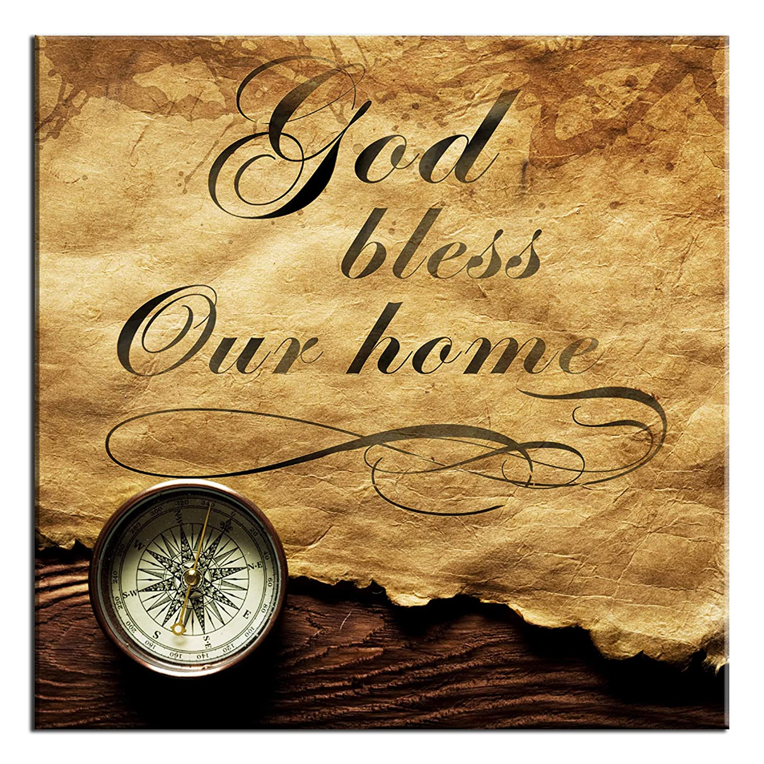 Amazon.com: Ode-Rin Art Prints Bible Quotes God Bless Our Home Wall ...