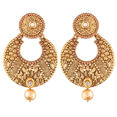ba542dc3a Buy I Jewels Ethic Gold Plated Chandbali Earrings for Women (E2414FL) Online  at Low Prices in India | Amazon Jewellery Store - Amazon.in