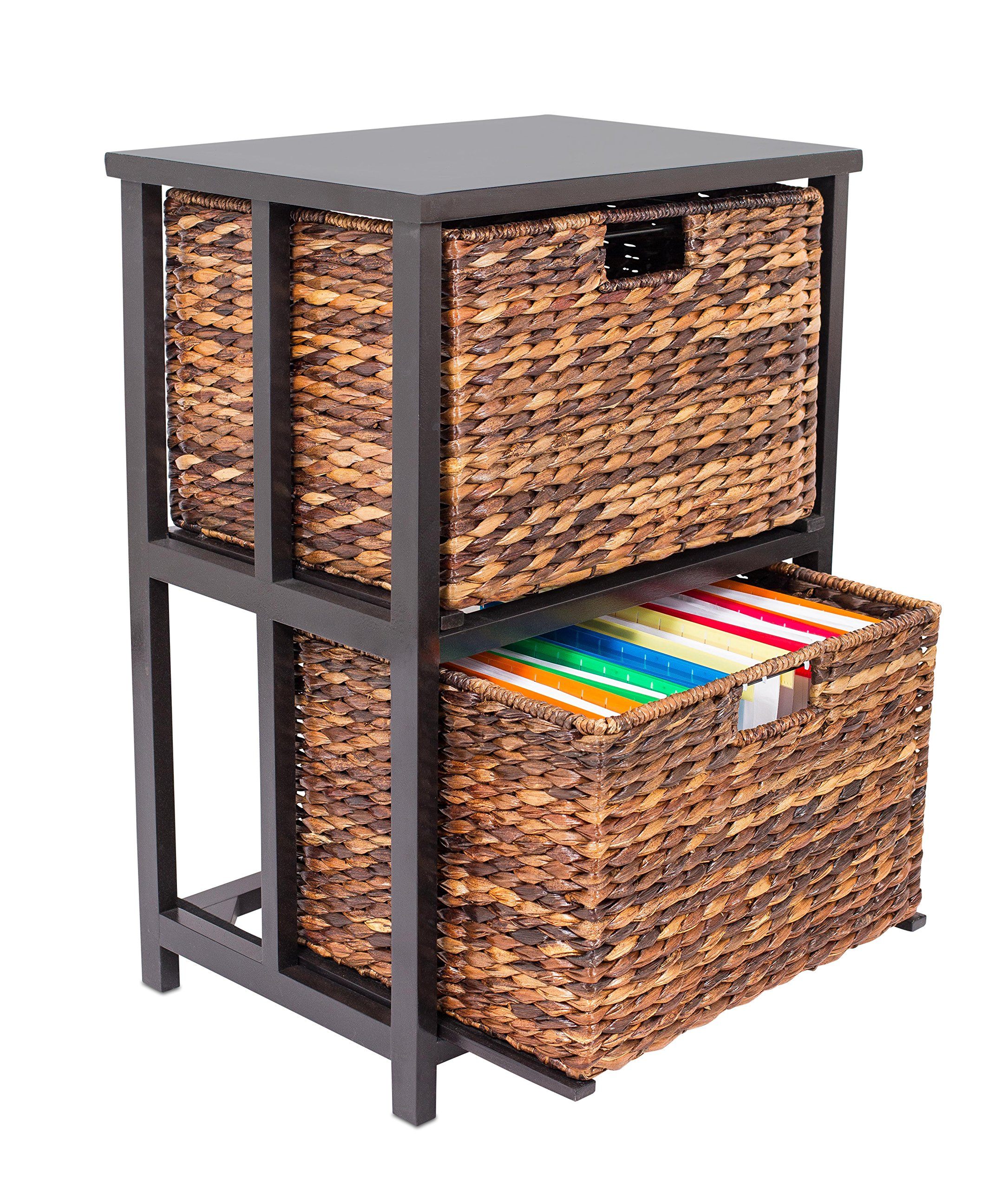 BirdRock Home Abaca 2 Tier File Cubby Cabinet - Vertical Storage Furniture - 2 Drawers - Office Décor - Home Decorative Box Filing - Natural Wood - Delivered Fully Assembled - Hanging Letter and Legal by BIRDROCK HOME