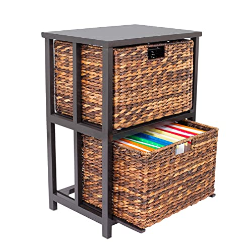 BirdRock Home Abaca 2 Tier File Cubby Cabinet | Vertical Storage Furniture  | 2 Drawers |