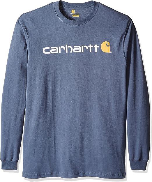Carhartt Men's Big & Tall Signature Logo Jersey Long Sleeve T Shirt Graphic