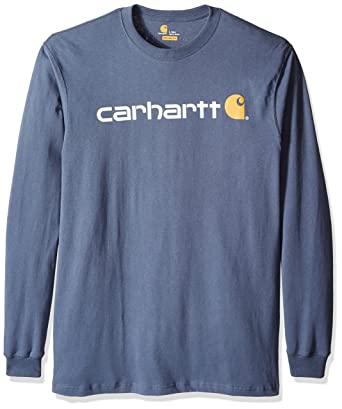 16c7a3700 Carhartt Men's Big & Tall Signature Logo Midweight Jersey Long Sleeve T  Shirt Graphic, Bluestone