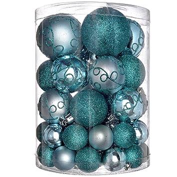 Bruchsichere Christbaumkugeln.Werchristmas Bruchsichere Plastik Christbaumkugeln 50 Stück Türkis Blau