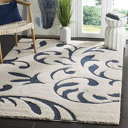Safavieh Florida Shag Collection SG468-1165 Cream and Blue Area Rug 4 x 6