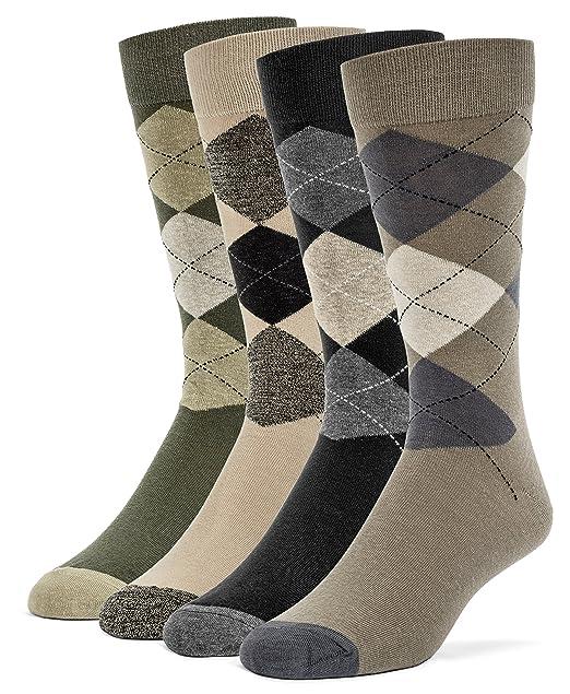 Galiva - 4 pares de calcetines de algodón para hombre (de vestir, modelos variados), diseño de rombos, Grande: Amazon.es: Ropa y accesorios