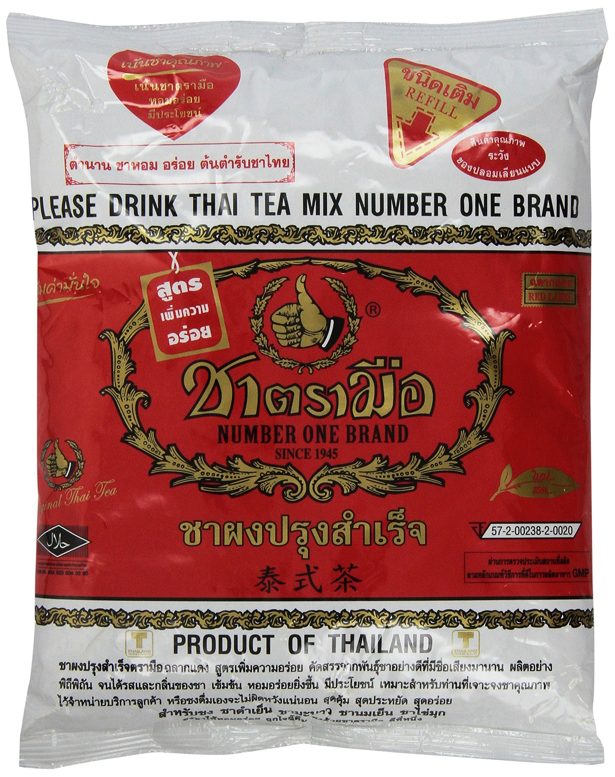 Number One The Original Thai Iced Tea Mix - Number One Brand Imported From Thailand - Great for Restaurants That Want to Serve Authentic and Thai Iced Teas, 400g Bag