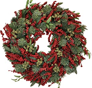 The Wreath Depot Pennsgrove Winter Wreath 22 Inch, Full Artificial Designer Winter Wreath for Seasonal Display, White Gift Box (22 Inch)