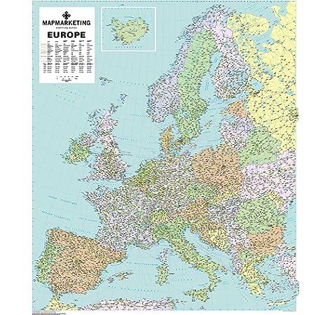 Mapa político de Europa para pared (laminado): Amazon.es: Oficina y papelería