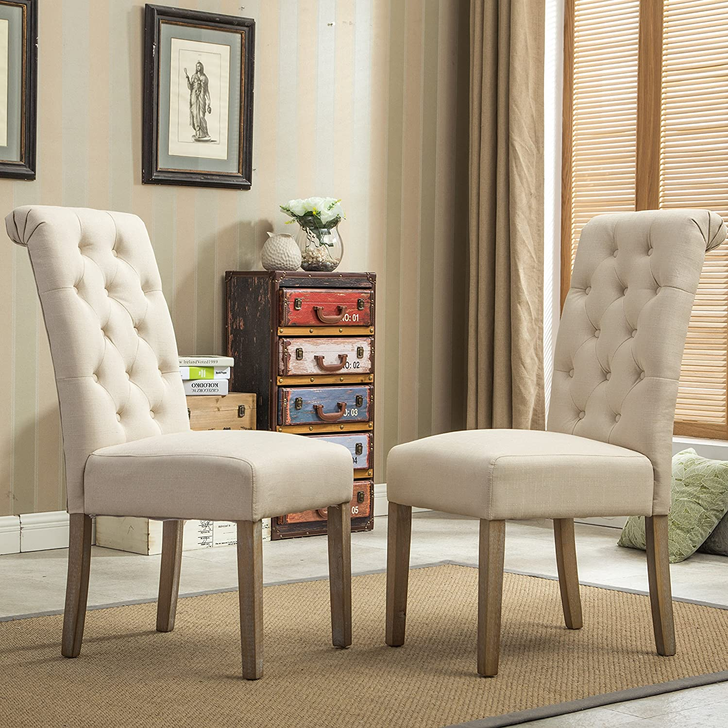 Amazon com roundhill furniture habit solid wood tufted parsons dining chair set of 2 tan chairs