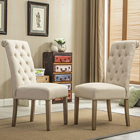 img buy Roundhill Furniture Habit Solid Wood Tufted Parsons Dining Chair (Set of 2), Tan