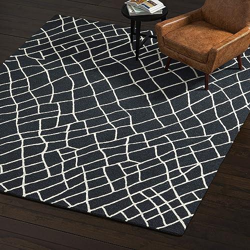 Rivet Wool Rug, 8 x 10 , Black, White