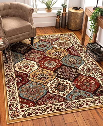 Dynasty Panel Ivory Multi Oriental Floral Geometric Modern Area Rug 7×10 6 7 x 9 6 Easy to Clean Stain Fade Resistant Shed Free Contemporary Formal Lattice Trellis Soft Living Dining Room Rug