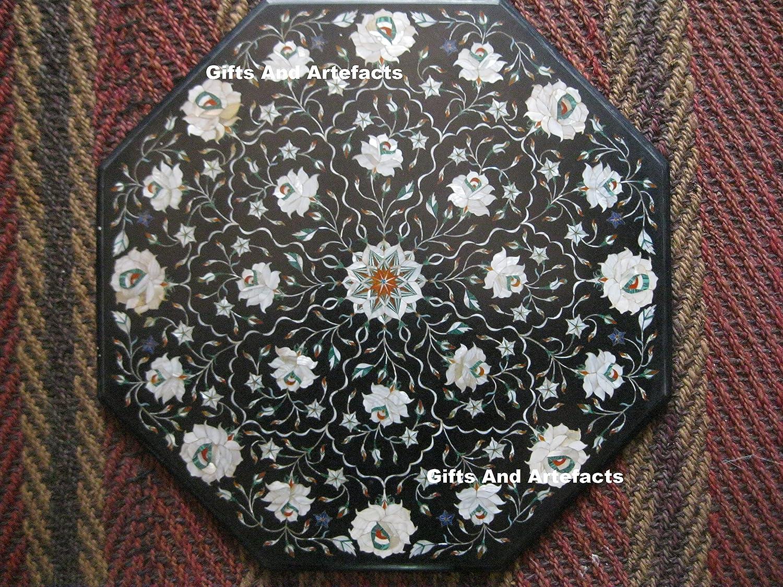 Gifts And Artefacts - Mesa de café de mármol Octogonal con Incrustaciones de nácar Blanco Brillante, también se Puede Utilizar como Mesa de sofá de jardín, 22 Pulgadas