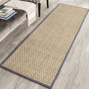 Safavieh Natural Fiber Collection NF114Q Basketweave Natural and Dark Grey Summer Seagrass Runner (2'6  x 8')
