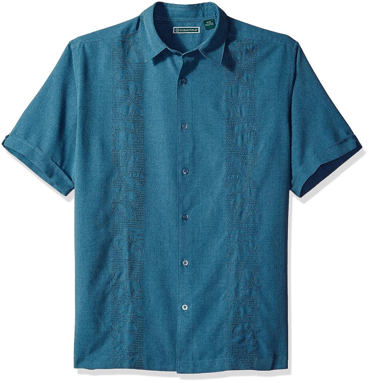 Cubavera Men's Short Sleeve Point-Collar Embroidered-Panel Button-Down Shirt Cubavera Men's Sportswear