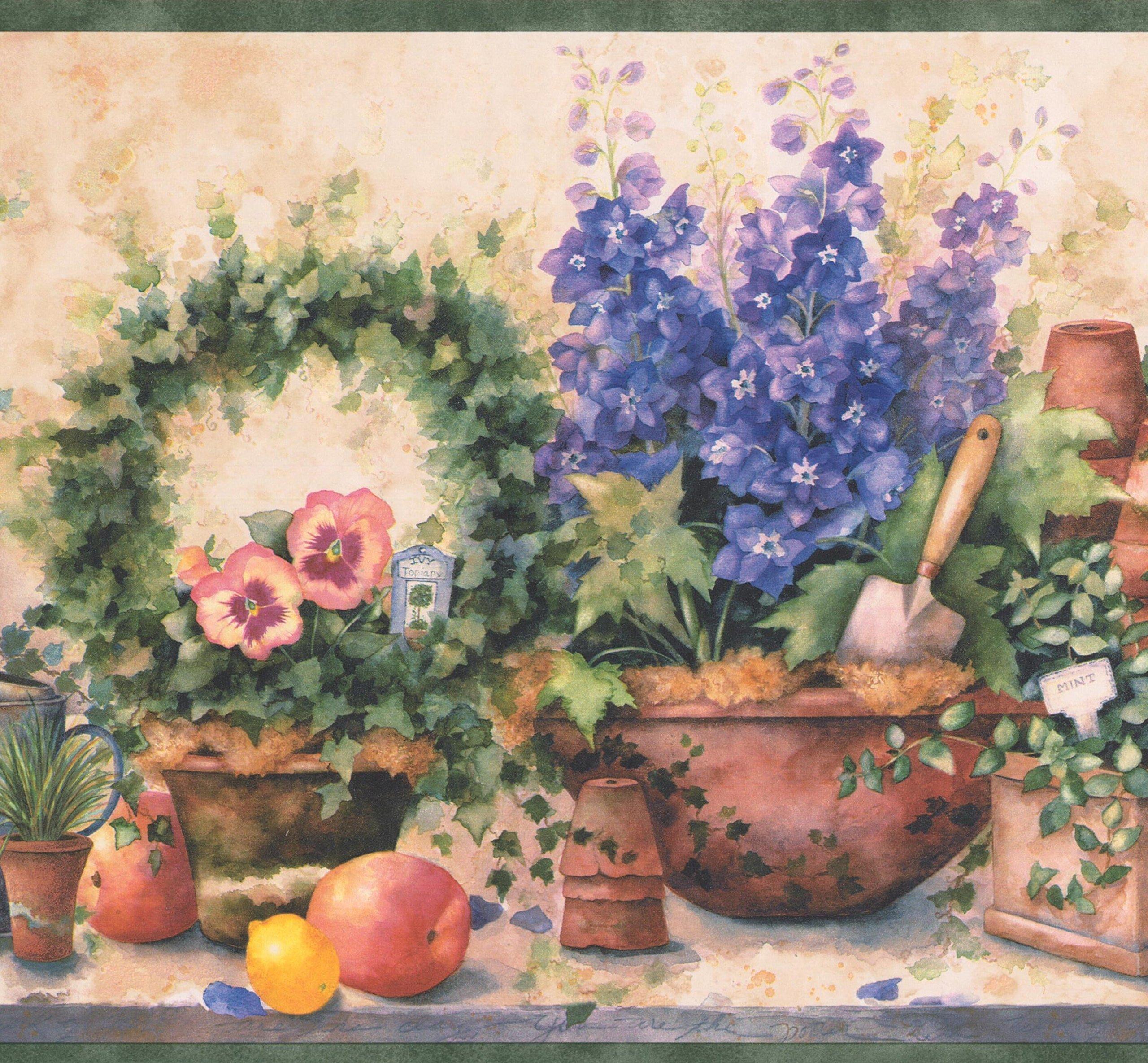 Purple Flowers in Pots Fruits Gardening Tools Farmhouse Wallpaper Border Retro Design, Roll 15' x 9''