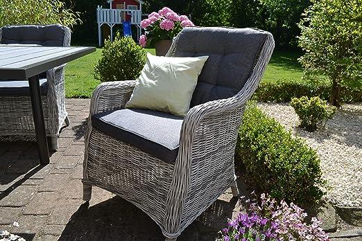 Juego de sillones de ratán de Bomey con acolchado, juego de 6 piezas de sillones de jardín de color gris + tapizado gris, sillón para jardín + terraza + jardín de invierno: Amazon.es: Jardín
