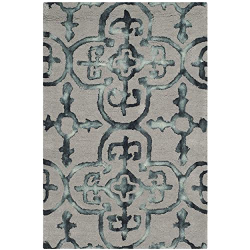 Safavieh Dip Dye Collection DDY711B Handmade Moroccan Geometric Watercolor Grey and Charcoal Wool Area Rug 2 x 3