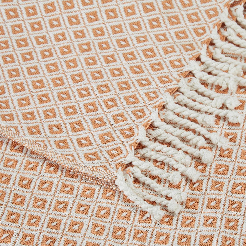 Relaxdays Couvre-lit Plaid Couverture en Coton canap/é lit jet/é de canap/é 100/% Coton avec Motifs Carreaux lxP Blanc Orange 130 x 170 cm