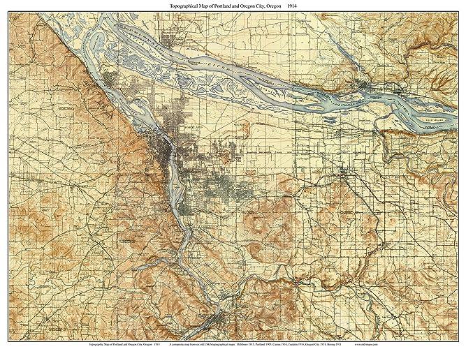 Amazon Com Portland And Oregon City 1914 Old Topographic