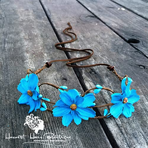 Amazon.com  Large Retro Flower Crown    Turquoise blue flower headpiece for  a hippie boho wedding    Floral headband accessory for women or teen   Handmade ccd2f2c2d87