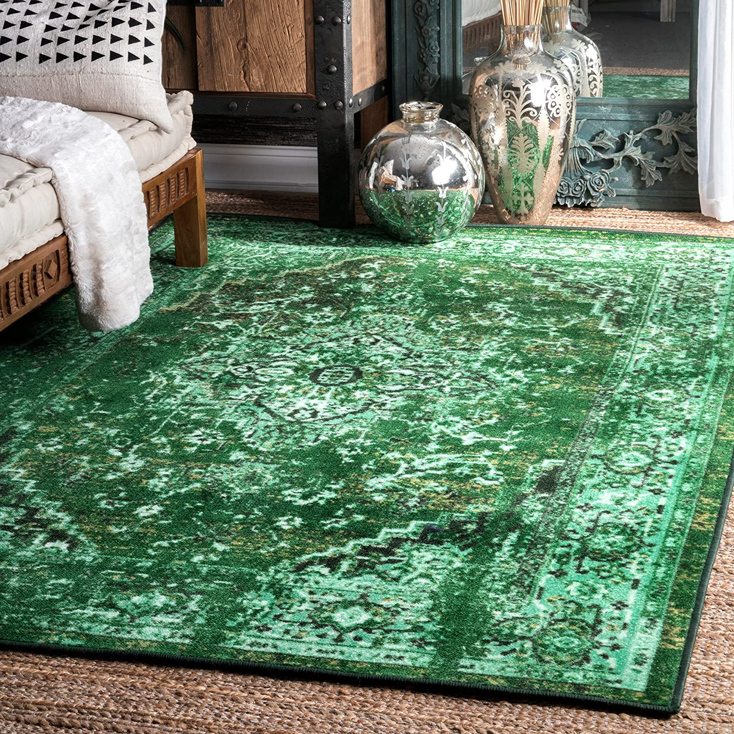 Nuloom Reiko Vintage Persian Area Rug 3 X 5 Green Furniture Decor