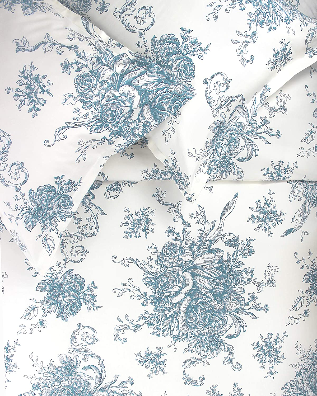 Mélange Home Melange Home, Light Blue Toile 400 Thread Count Cotton Duvet Set, California King, King/Cal King