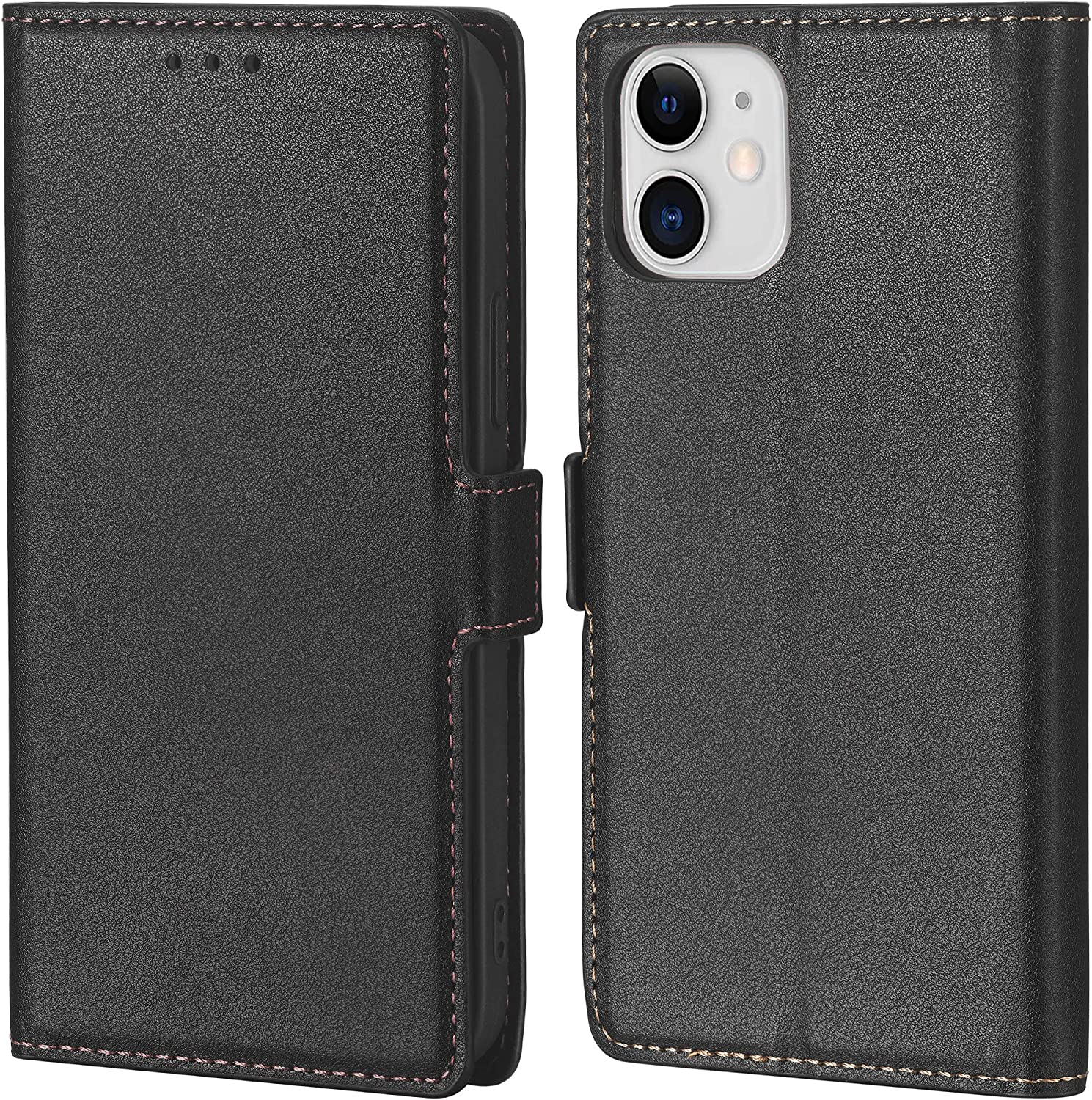 Crosspace Case Compatible with iPhone 12 Mini[5.4 inch,2020 Release],Wallet Case for Men with Card Holder,Premium Ultra Slim PU Leather Flip Cover Cases Professional & Kickstand-Black
