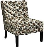 Verbier Accent Chair, Fabric Spring Foam Seat Black Legs Beige Diamond Pattern Classic Style