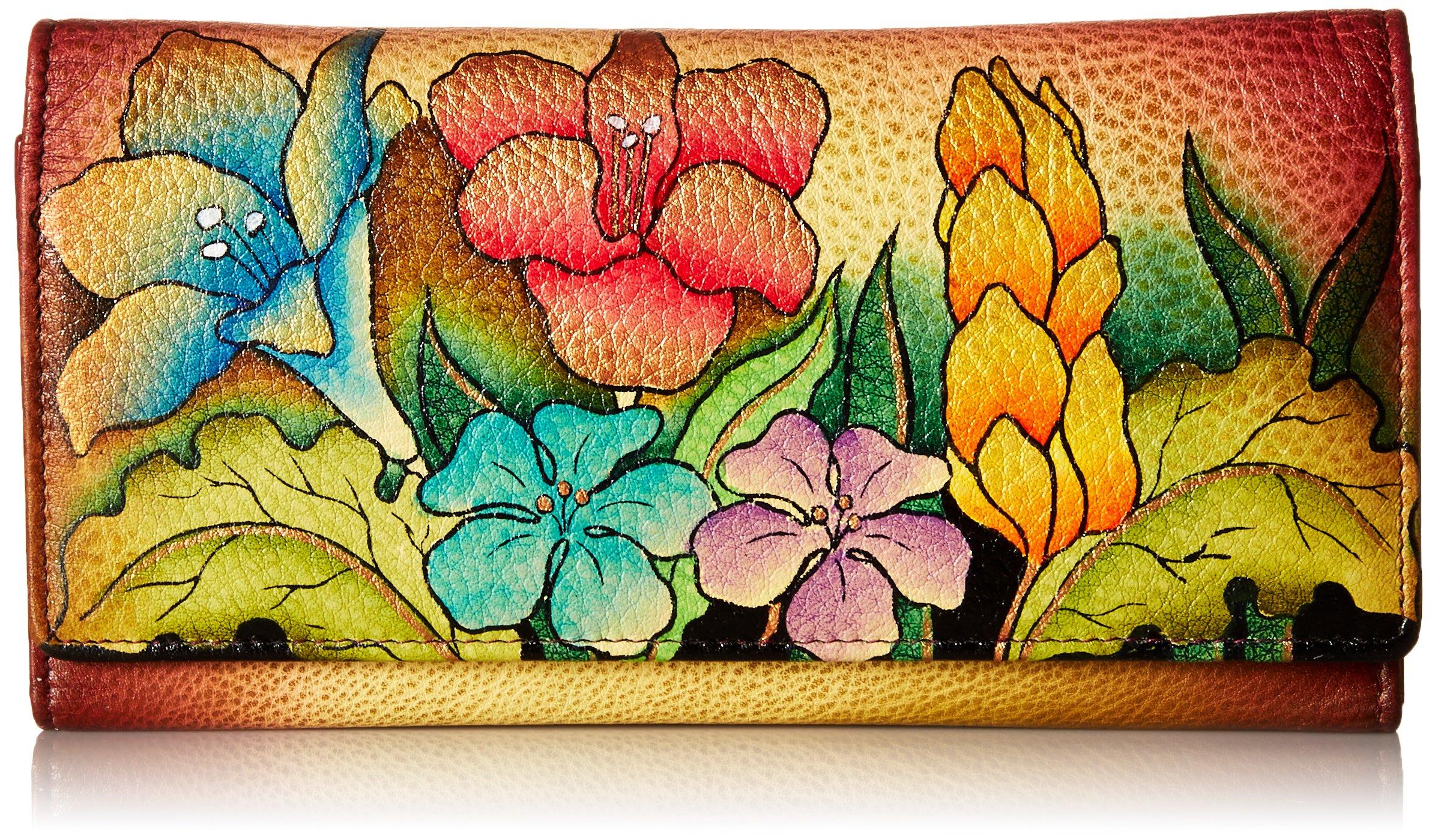 Anna by Anuschka Hand Painted Leather | Multi Pocket Clutch / Wallet | Mediterranean Garden