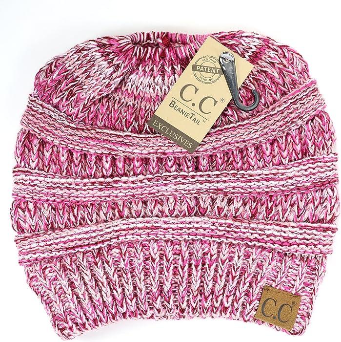 4b86c67459254f Crane Clothing Co. Women's Multi Tone CC Beanie Tail One Size Pink ...