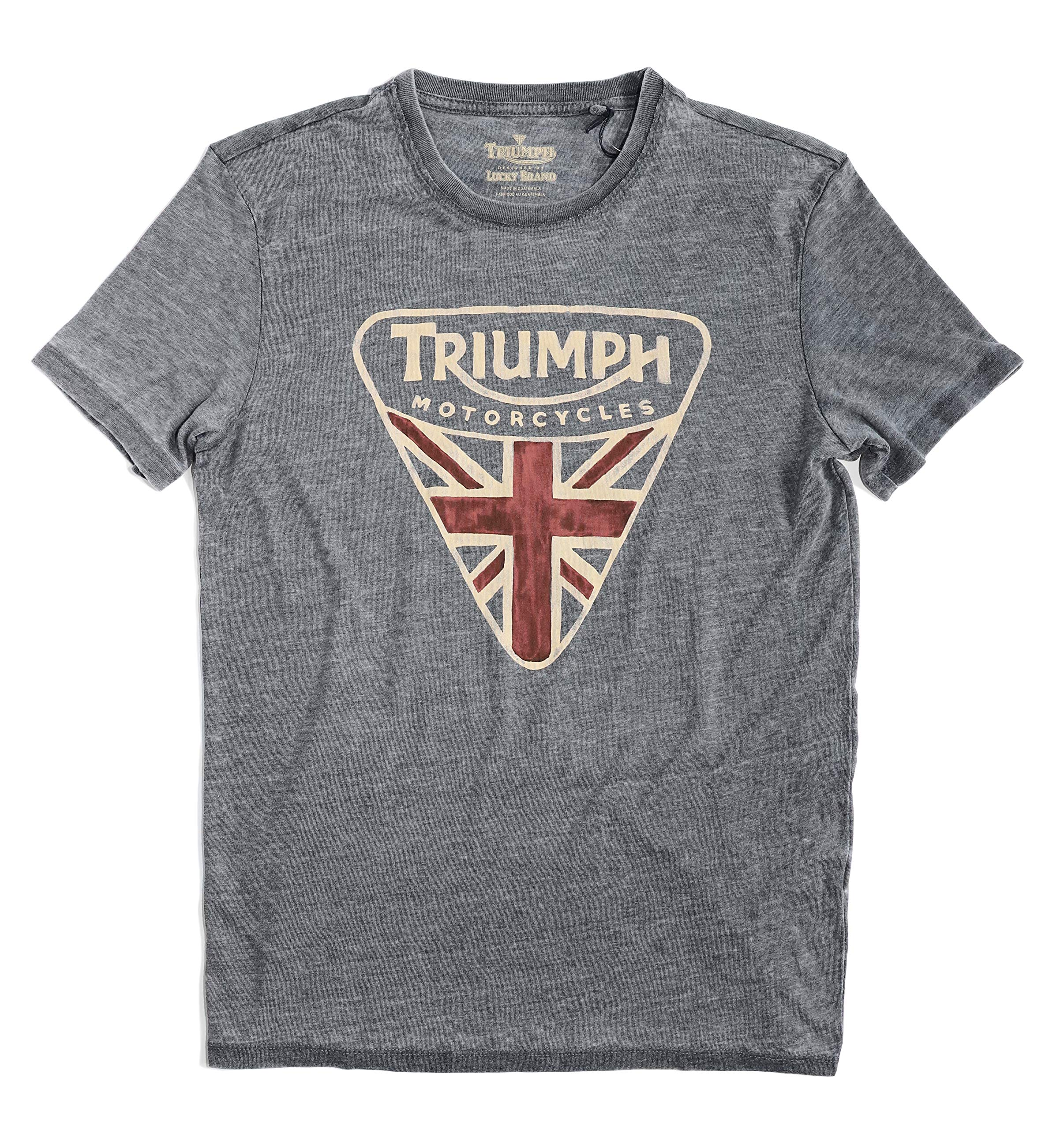 Lucky Brand Men's Burnout Triumph British Flag Badge Tee