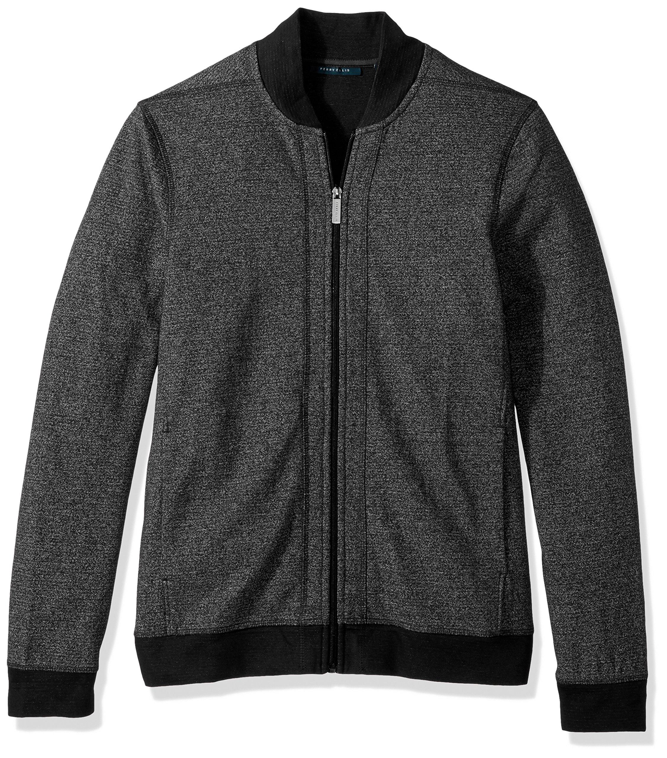 Perry Ellis Men's Texture Bomber Knit Jacket, Charcoal Heather, Small