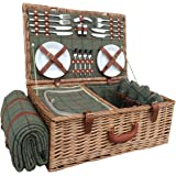 4 Person Green Tweed Fitted Picnic Basket