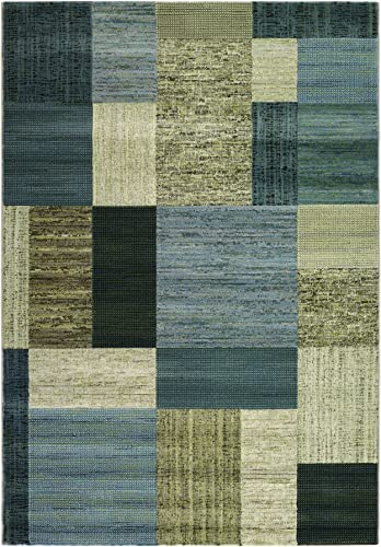 Everest-Geometrics Tan-Teal, 5 3 x 7 6 Rug
