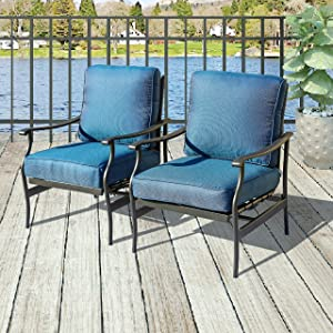 Patio Festival ® Bistro Rocking Sofa Chair Modern Outdoor Chairs Conversation Sets Patio Furniture Sets with 5.1 Inch Thick Seat Cushions (2PCS-2, Blue)