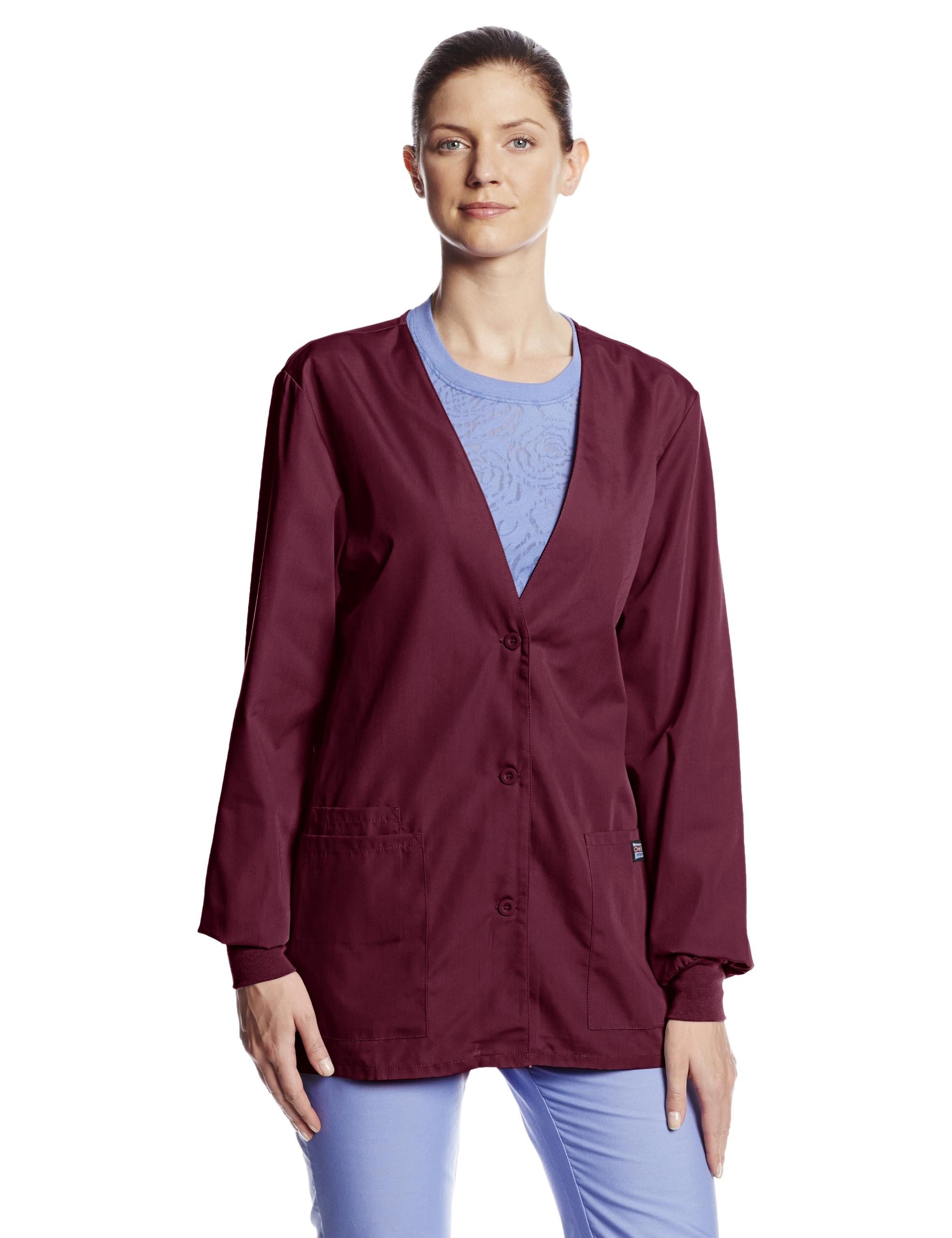 Cherokee Women's Workwear Scrubs Cardigan Warm-Up Jacket, Wine, 3X-Large