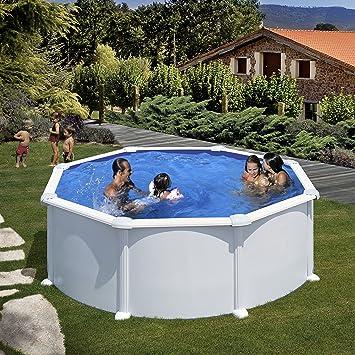 Gre KITPR358- Piscina Atlantis desmontable redonda de acero color blanco Ø350x132 cm: Amazon.es: Jardín