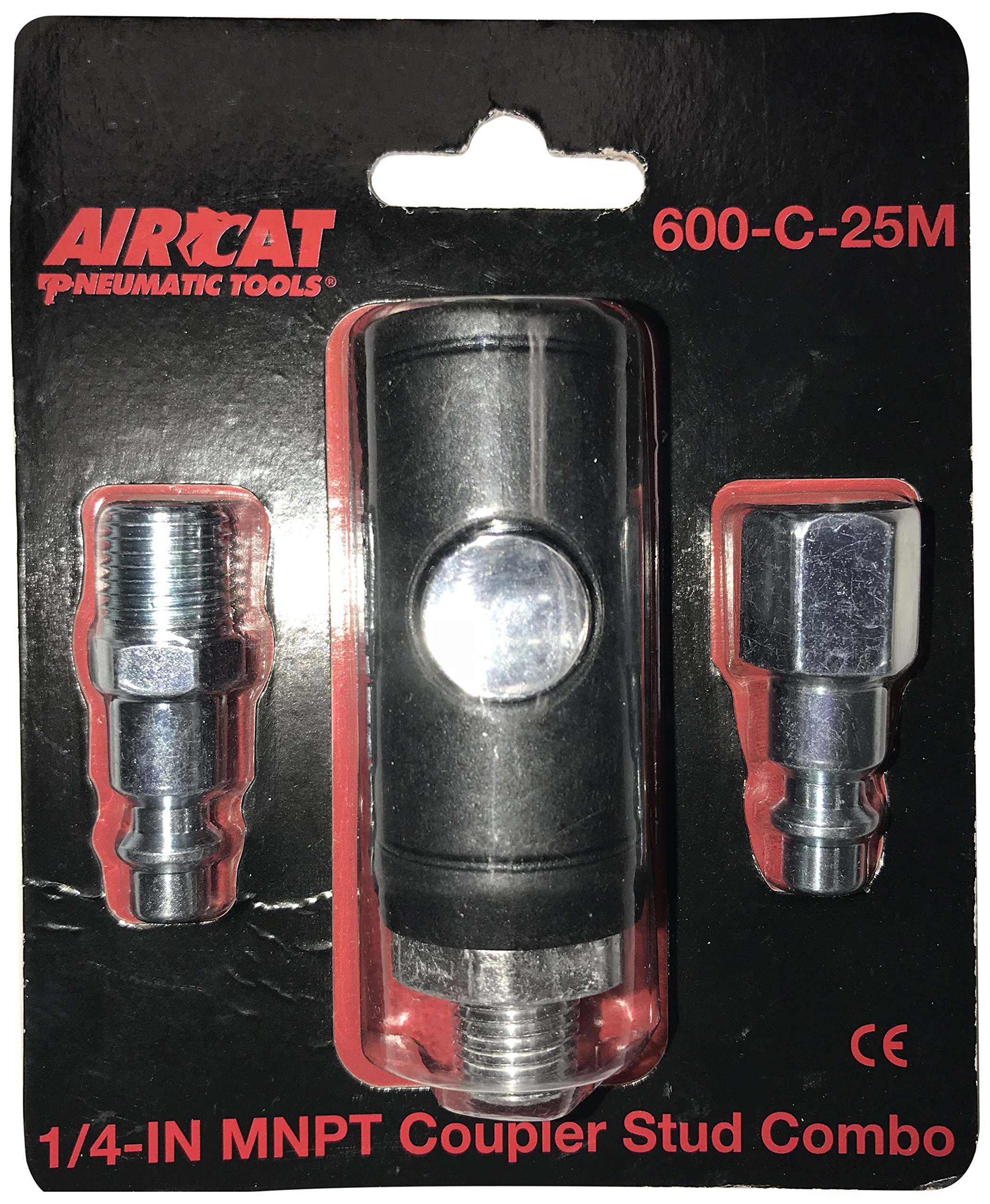 AIRCAT 600-C-25M 1/4'' NPT Male SAFETY Coupler Packaged with One Each Male & Female Fittings, Small, Black and Silver