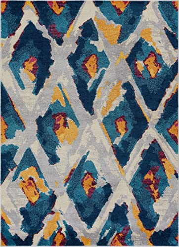 Well Woven Watercolor Ikat Blue Boho Area Rug 8×11 7 10 x 10 6 Soft Plush Modern Vintage Tribal Lattice Carpet