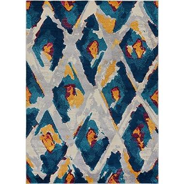 Well Woven Watercolor Ikat Blue Boho Area Rug 8x11 (7'10  x 10'6 ) Soft Plush Modern Vintage Tribal Lattice Carpet