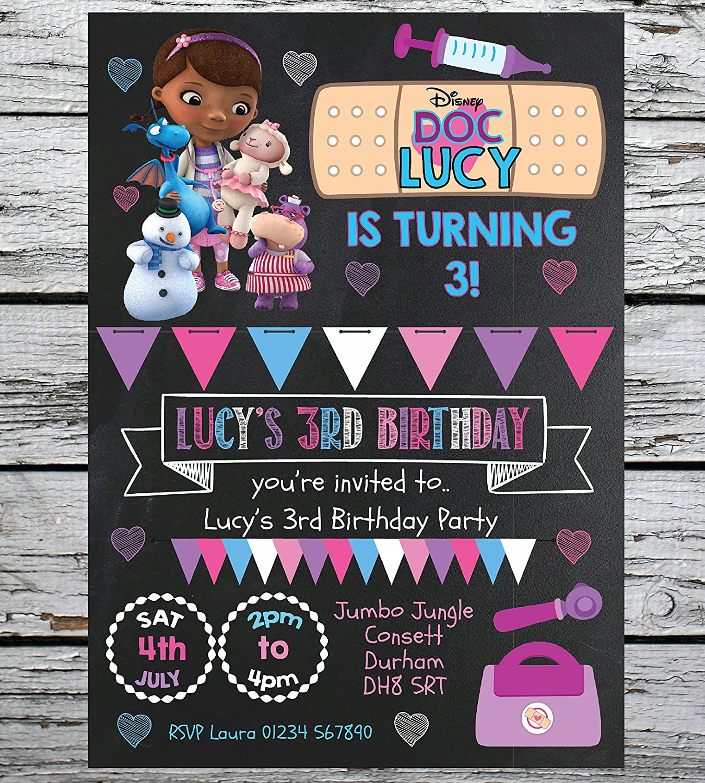 10 PERSONALISED DISNEY DOC MCSTUFFINS BIRTHDAY PARTY INVITES INVITATIONS KIDS