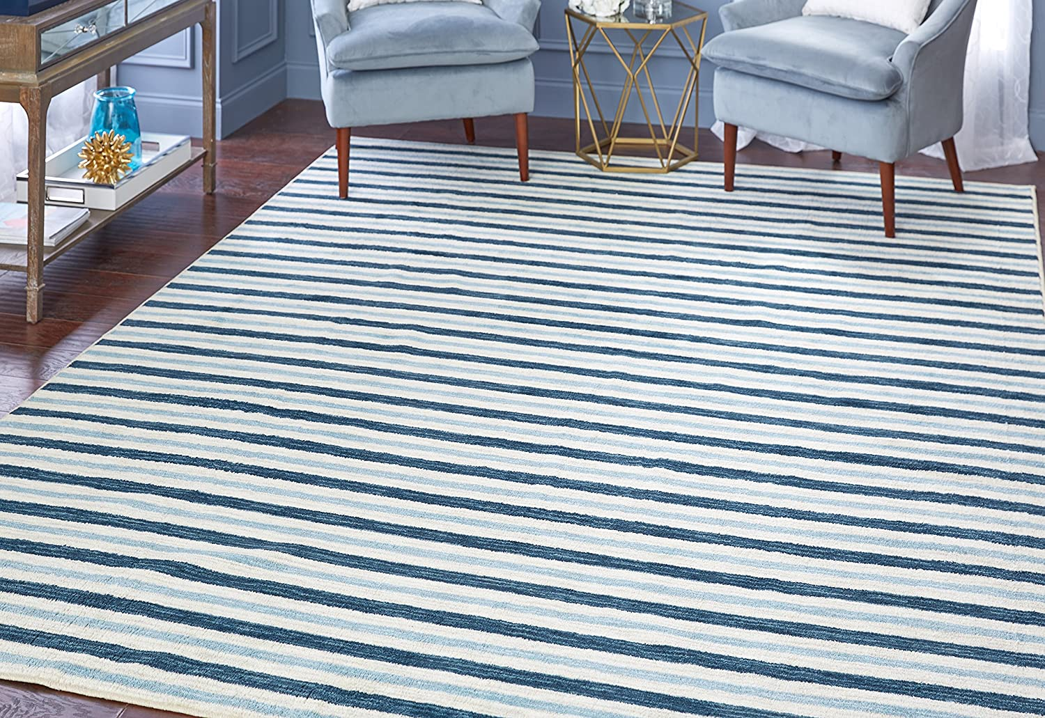 Mohawk Home Naples Monterey Striped Printed Area Rug, 7'6x10', Blue