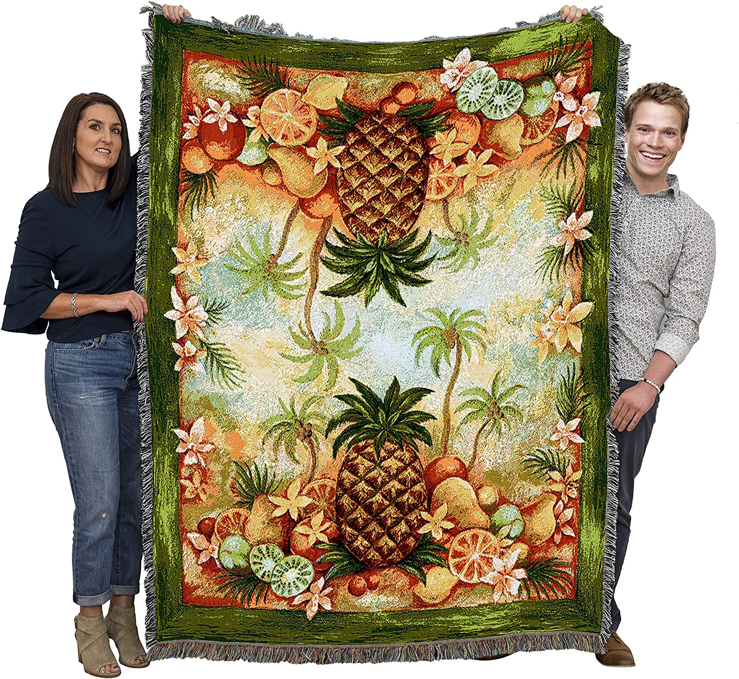 B000ZES170 Pure Country Weavers Pineapple Cute Colorful Throw Blanket for Beachy Boho Pinnapple Décor Symbol of Hospitality Large Woven Cotton Made in The USA 72x54 A18cwQ2OzVL